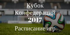 Расписание матчей Кубка Конфедераций 2017